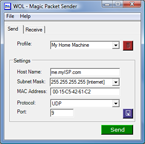 Screenshot of Wake On Lan Magic Packet Sender Free Windows Software